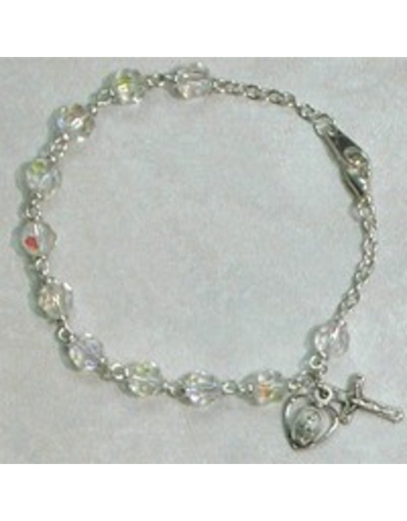 "McVan 7 1/2"" Tin Cut Crystal Bead Bracelet with Oxidized Silver Crucifix and Miraculous Medal"