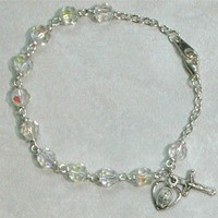 """McVan 7 1/2"""" Tin Cut Crystal Bead Bracelet with Oxidized Silver Crucifix and Miraculous Medal"""