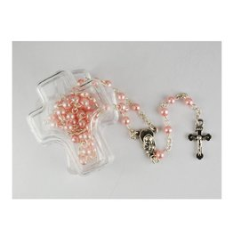 McVan Pink Pearl Children's Rosary in Cross Box