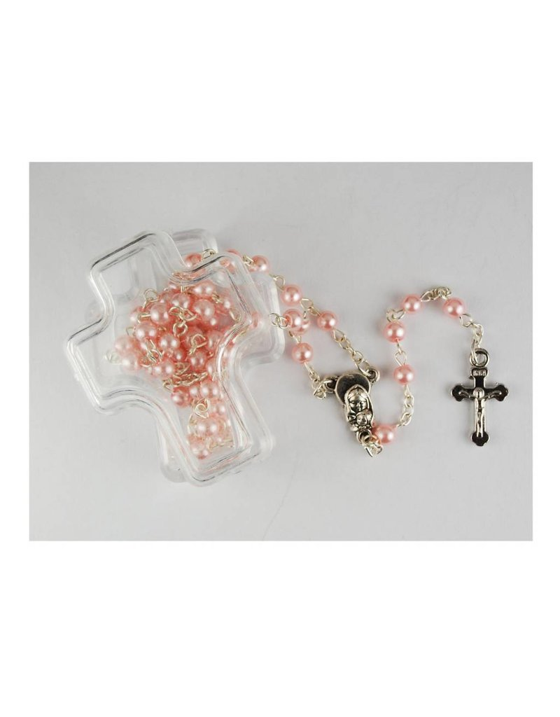 McVan Pink Pearl Children's Rosary in Cross Box