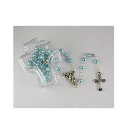 McVan Blue Pearl Children's Rosary in Cross Box