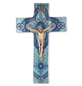"WJ Hirten 10"" Light Aqua Glass Crucifix with Gold Corpus"