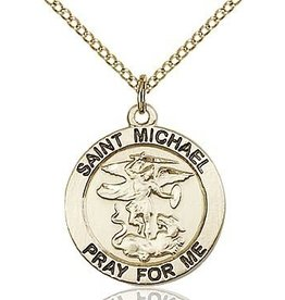 "Bliss Manufacturing 14Kt Gold Filled St. Michael and Guardian Angel Medal-Pendant with 24"" Endless Chain"