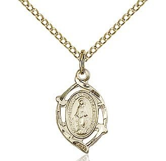 """Bliss Manufacturing Gold Filled Miraculous Medal on 18"""" Chain Necklace"""