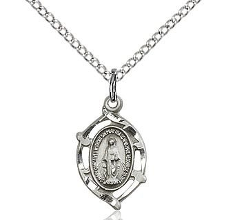 """Bliss Manufacturing Sterling Silver Miraculous Medal Small Cut On 18"""" Chain Necklace"""