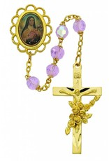 McVan Gold Plated Rose Bead St. Therese Rosary