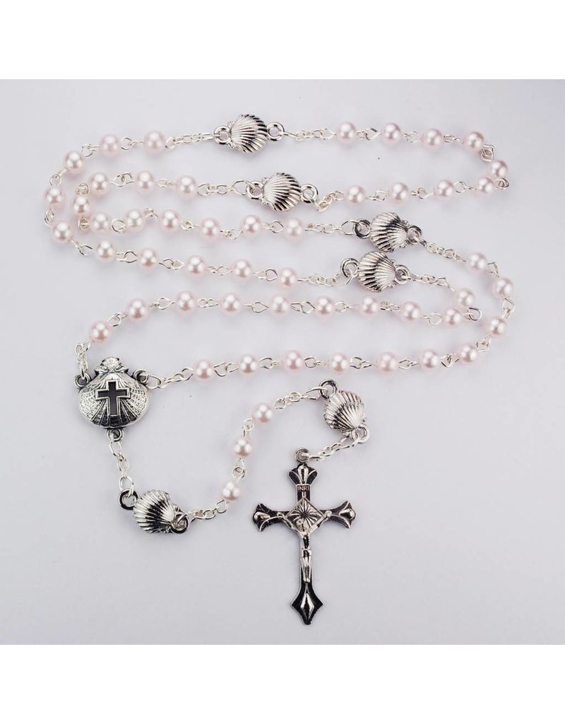 McVan Pink Pearl Shell Baptism Rosary with Box