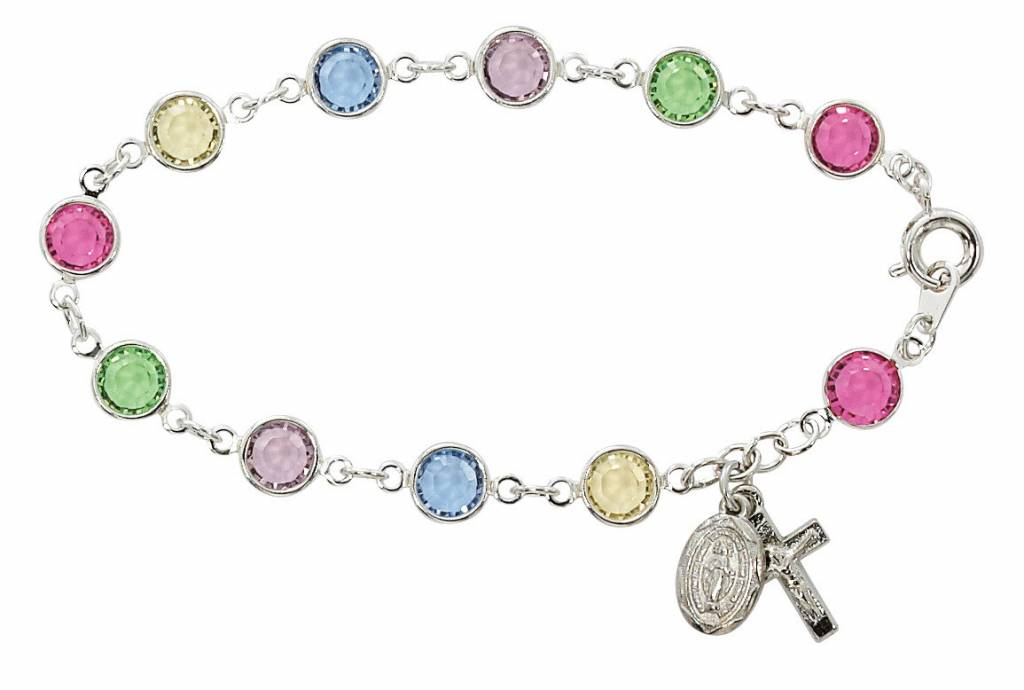 """McVan 7.5"""" Multi-Color Austrian Crystal Beads with Rhodium Plated Crucifix & Miraculous Medal"""