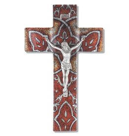 "WJ Hirten 10"" Burnt Orange Glass Crucifix with Pewter Corpus"