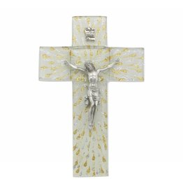 """WJ Hirten 7"""" Shimmering Silver & Gold Glass Cross with Pewter Corpus"""