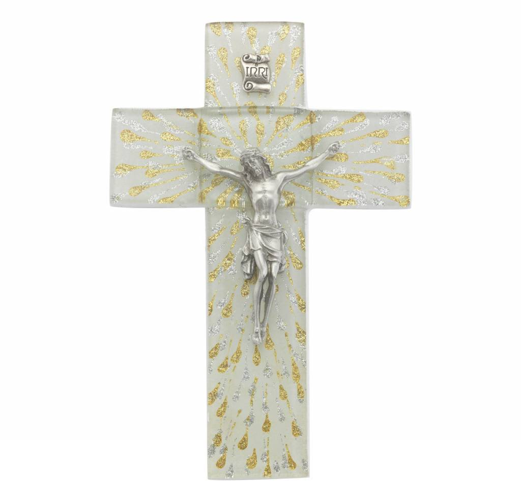"WJ Hirten 7"" Shimmering Silver & Gold Glass Cross with Pewter Corpus"