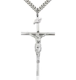 Bliss Manufacturing Sterling Silver Crucifix Pendant on a 24 inch  Heavy Curb Chain