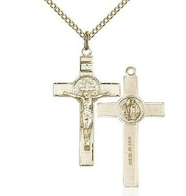 "Bliss Manufacturing Gold Filled St. Benedict Crucifix Pendant with 18"" chain"