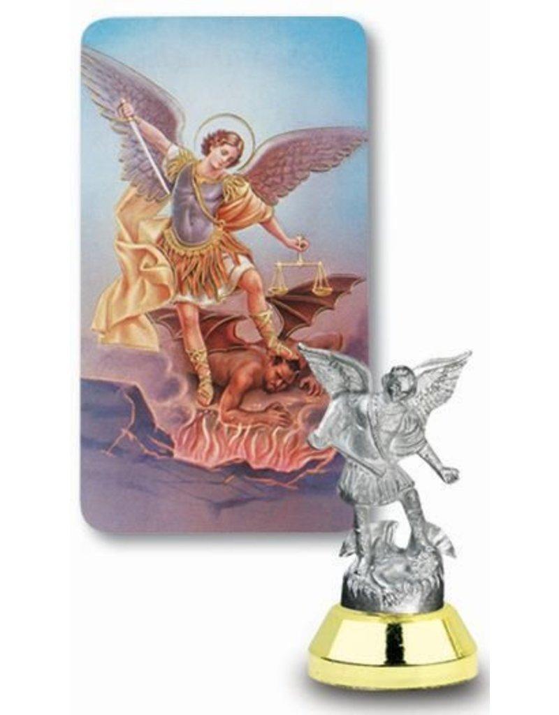 WJ Hirten St. Michael Auto Statue with Prayer Card