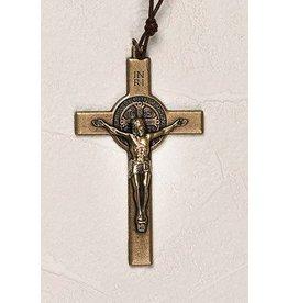 "Lumen Mundi 3.5"" Brass St. Benedict Cross with Cord"