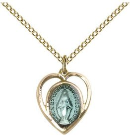 "Bliss Manufacturing Gold Filled Blue Miraculous Medal Heart Charm on 18"" Chain Necklace"