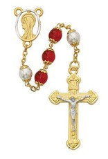 McVan 8MM Red and Capped Pearl Rosary