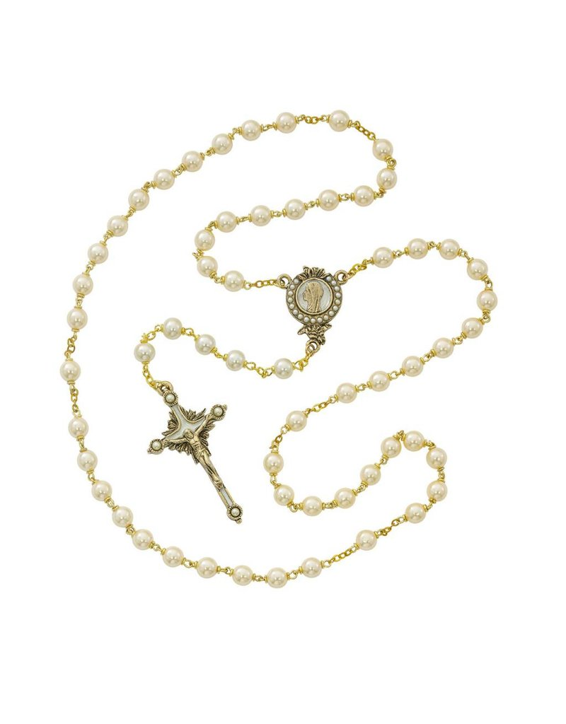 McVan 7mm Gold Plated Pearls of Mary Rosary with Box