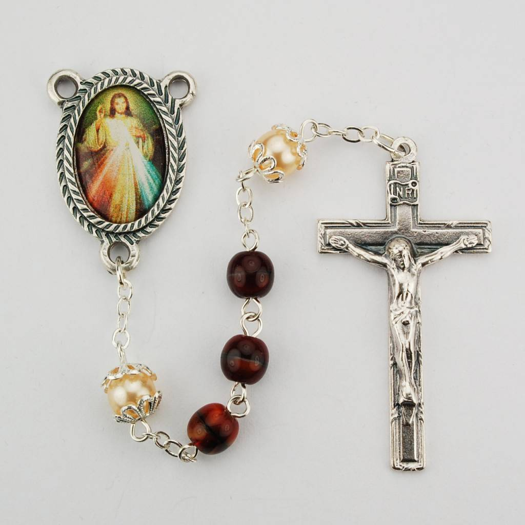 McVan Red Marbled Divine Mercy Rosary