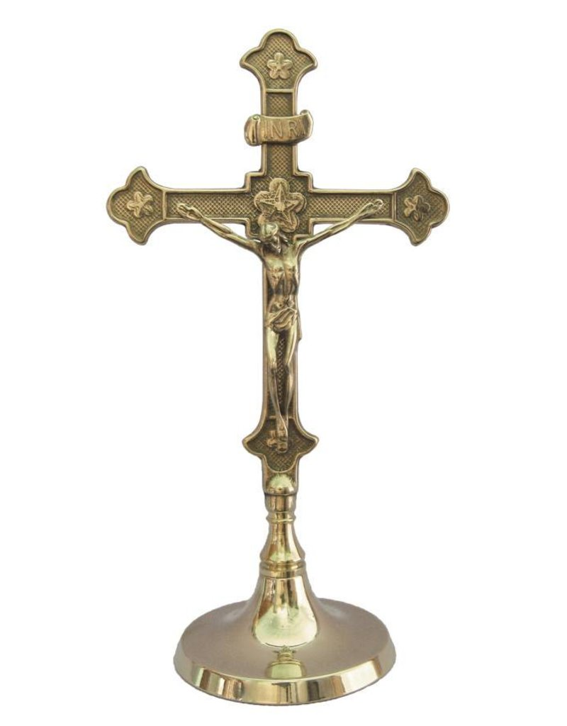 """Goldscheider of Vienna 11.5"""" Brass Standing Altar Crucifix"""