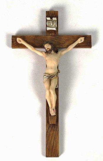 """Goldscheider of Vienna 16"""" Crucifix Fully Hand-painted"""