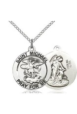 "Bliss Manufacturing Sterling Silver St. Michael and Guardian Angel Medal-Pendant With 24"" Chain Necklace"