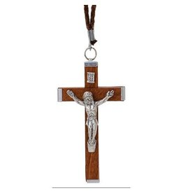"Religious Art Inc Wood Crucifix on 30"" cord"