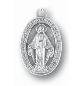 "1"" Miraculous Medal Silver Oxidized"