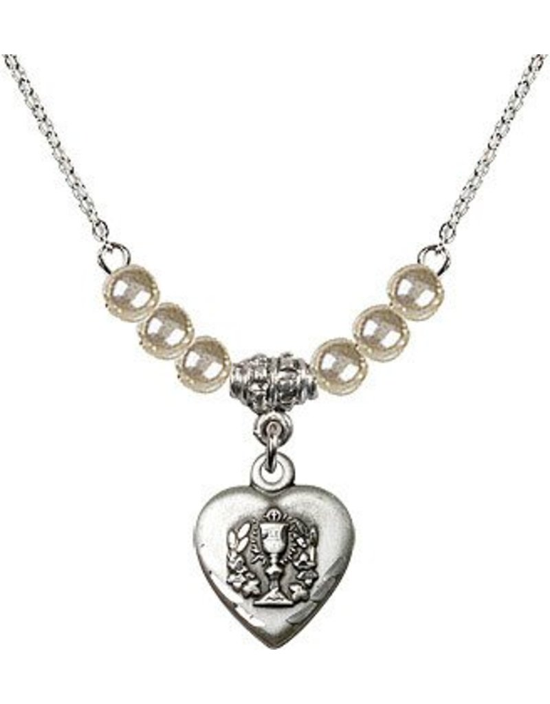 """Bliss Manufacturing 16"""" Rhodium Curb Chain with 6 Faux Pearl beads and a Heart / Communion charm"""