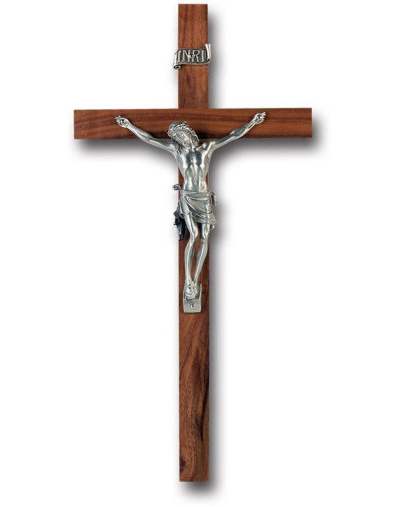 "WJ Hirten 10"" Walnut Crucifix with Pewter Corpus"