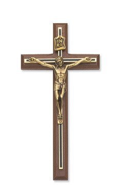 "McVan 8"" Walnut Crucifix with Black and Golden Overlay with Golden Corpus"