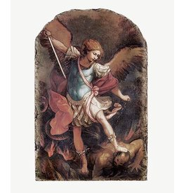 Sacred Traditions Saint Michael Arched Tile Plaque with Stand