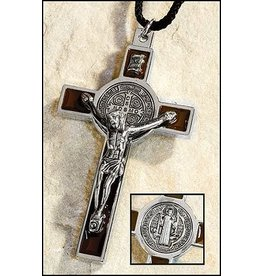 Christian Brands Brown Enameled St. Benedict Pendant with Cord