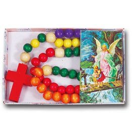 """WJ Hirten Non Toxic Wooden Kiddie Rosary with 5 Different Colors 21"""" Boxed"""