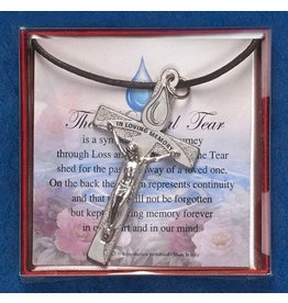 Lumen Mundi The Tear of Memorial Tear Cross Necklace