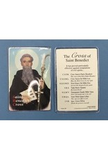 Lumen Mundi Saint Benedict Laminated Prayer Card with Silver tone Cross