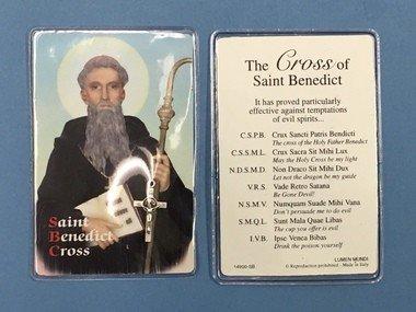 Lumen Mundi Saint Benedict Laminated Prayer Card with Silver tone Cross