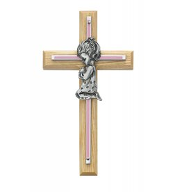 "McVan 7"" Pink Oak Girls Wall Cross"