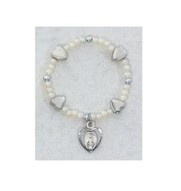 McVan Sterling Silver Stretch Baby Bracelet with Miraculous Medal