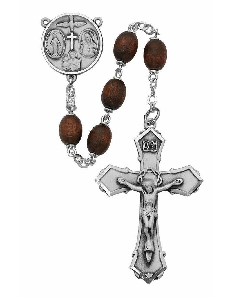 McVan 6x8mm Oval Brown Wood Rosary with Deluxe Crucifix and Center