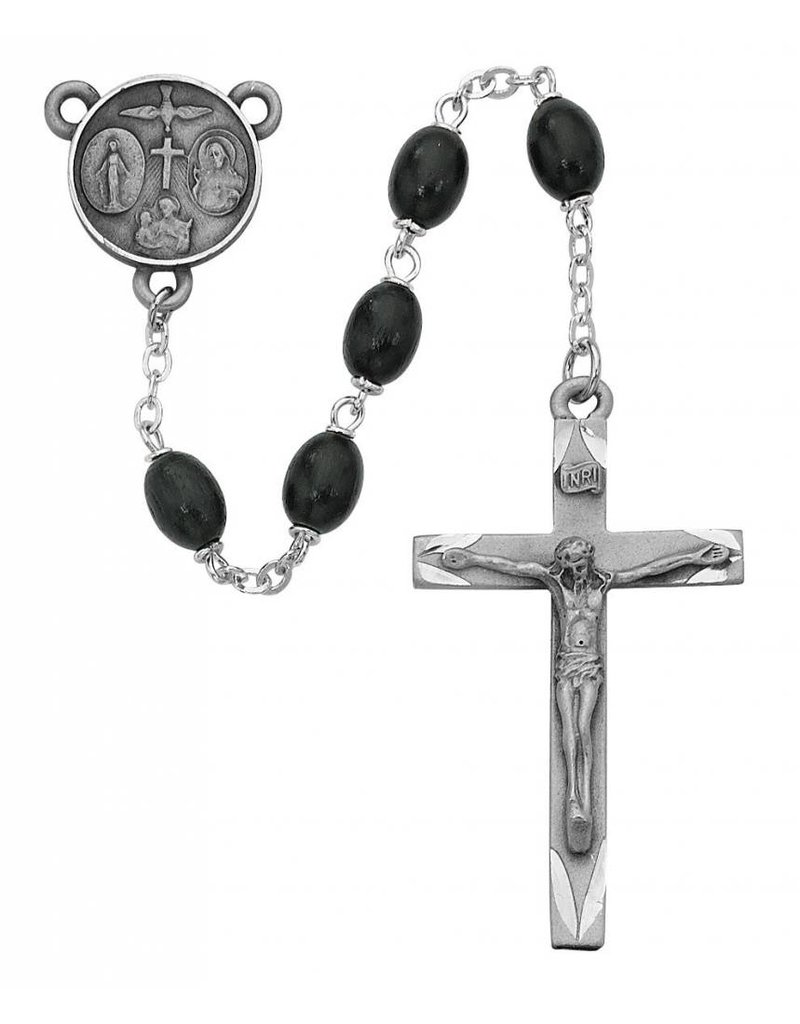McVan 6x8mm Black Wood Oval Rosary