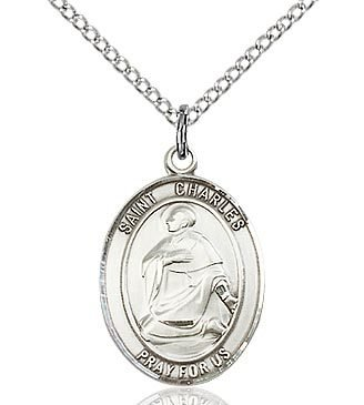 """Bliss Manufacturing Sterling Silver St. Charles Borromeo Medal With 20"""" Chain"""