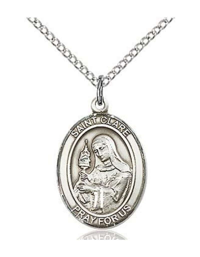 """Bliss Manufacturing Sterling Silver St. Clare Medal with 18"""" Chain"""
