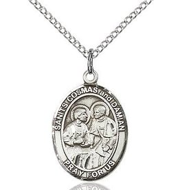 """Bliss Manufacturing Sterling Silver Sts. Cosmas and Damien Medal With 20"""" Chain"""