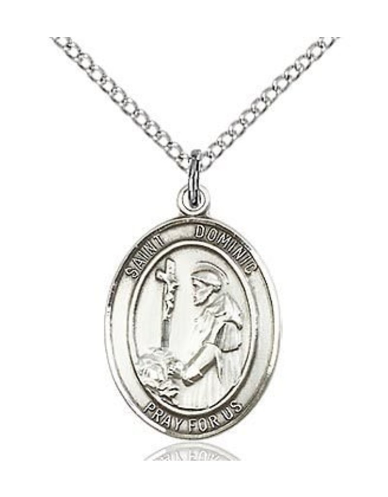 """Bliss Manufacturing Sterling Silver St. Dominic de Guzman Medal With 18"""" Chain"""