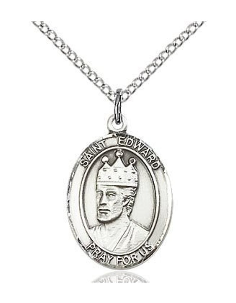 """Bliss Manufacturing Sterling Silver St. Edward Medal With 20"""" Chain"""