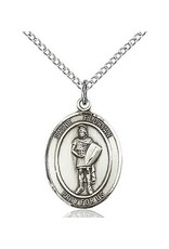 """Bliss Manufacturing Sterling Silver St. Florian Medal With 20"""" Chain Necklace"""