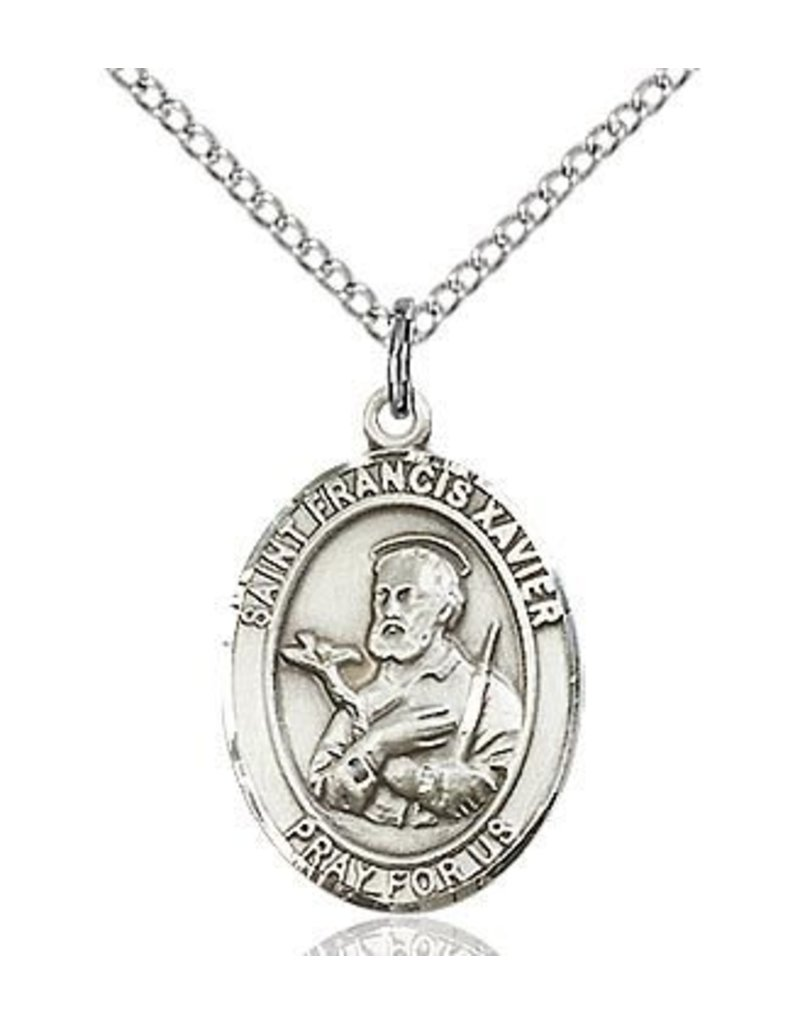 """Bliss Manufacturing Sterling Silver St. Francis Xavier Medal With 20"""" Chain Necklace"""