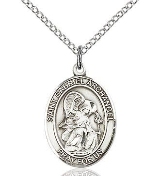 """Bliss Manufacturing Sterling Silver St. Gabriel Archangel Medal With 18"""" Chain Necklace"""