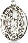 "Bliss Manufacturing Sterling Silver St. Genevieve Medal With 18"" Chain"